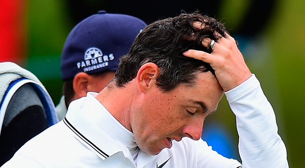 Frustrated: Rory McIlroy yesterday