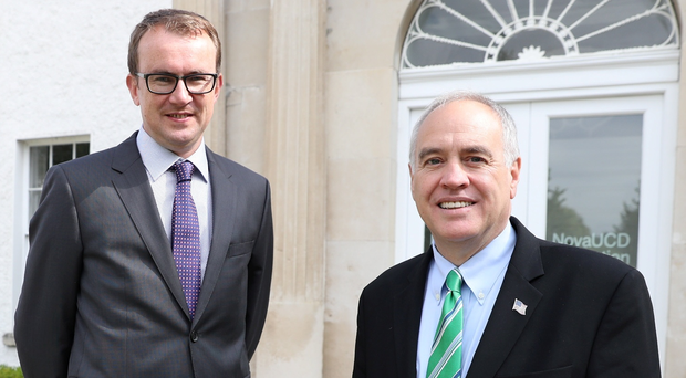 New York State Comptroller Thomas DiNapoli (right) with (left) Ger Goold, chief operating officer of Kernel Capital