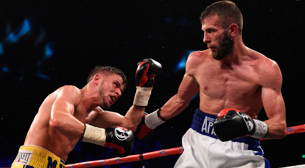 Tough scrap: Martin Ward (right) just got the better of Anthony Cacace in their British and vacant Commonwealth title super-featherweight title