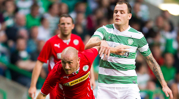 Tough test: Barry Johnston played against Celtic during a Champions League tie with Cliftonville back in 2013