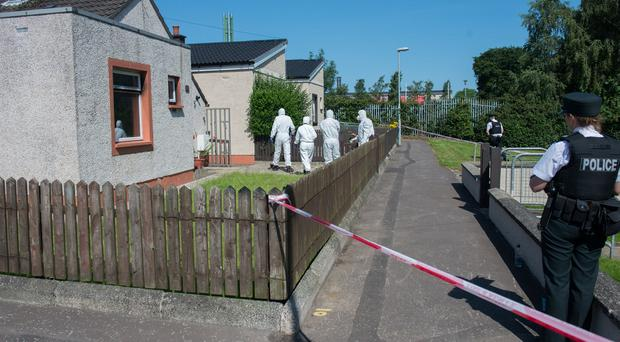 The scene at Grange Park in Limavady where a woman died during a house fire. Picture Martin McKeown. Inpresspics.com. 17.07.17