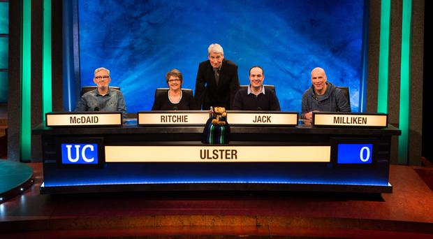Captain Iain Jack with Cathal McDaid, Catherine Ritchie and Matthew Milliken and host Jeremy Paxman.