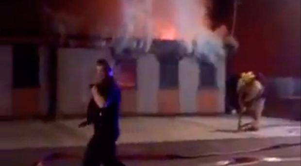 Fire at the NASFAT Islamic Centre on Droylsden Road in Newton Heath, Manchester, which was discovered by police at 11.40pm on Sunday. @saad_Alanazi054/PA Wire