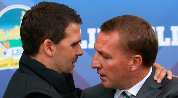 Brendan Rodgers with Linfield manager David Healy at Windsor Park last week