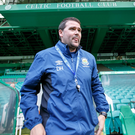 Ready for action: David Healy at Celtic Park last night