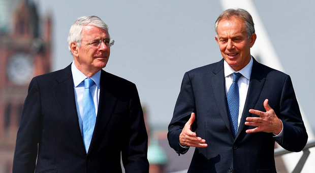 Former Prime Ministers John Major and Tony Blair take a walk in Londonderry last year