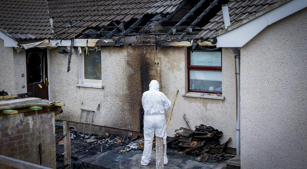 The scene of a fire in the Glasvey Gardens area of Twinbrook in West Belfast on July 19th 2017 (Photo by Kevin Scott / Belfast Telegraph)