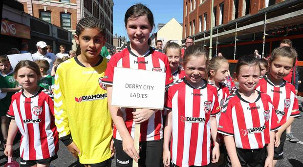 ©/Presseye.com - 18th July 2017. Press Eye Ltd - Northern Ireland - Hughes Insurance Foyle Cup 2017-Opening Parade Derry City Ladies. Mandatory Credit Photo Lorcan Doherty / Presseye.com