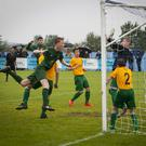 Pick it out: .Celtic captain Liam Morrison powers a header home against Foyle Harps