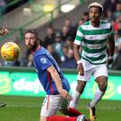 Celtic's Scott Sinclair up against Linfield's Mark Stafford.