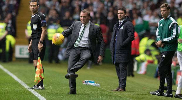 Kicking on: Brendan Rodgers gets in on the action at Parkhead, but knows Rosenborg will pose a tough test up next. Photo: Steve Welsh/Getty Images