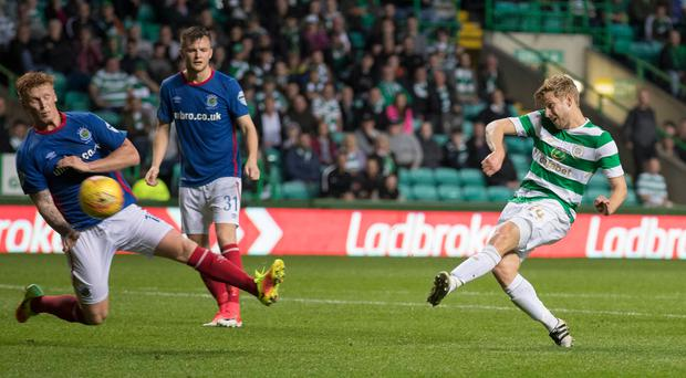 Well taken: Stuart Armstrong scores Celtic's fourth goal. Photo: Steve Welsh/Getty Images)
