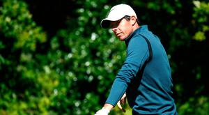 Rory McIlroy did not like his tee shot on route to bogey at the fifth.