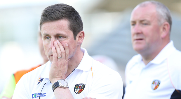 Under review: Antrim managers Gearoid Adams and Frank Fitzsimons. Photo: Andrew Paton/Presseye