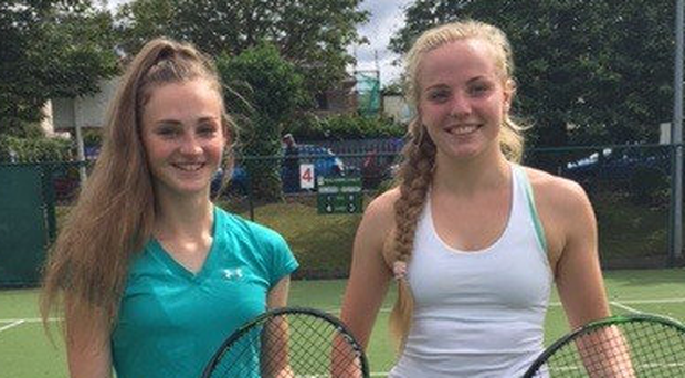 Going places: Jessica Leeman (left) and Zara Ryan after their ITF doubles victory in Malahide in Co Dublin