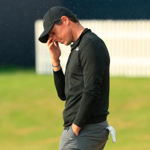 Rory McIlroy of Northern Ireland reacts on the 18th green during the third round of the 146th Open Championship at Royal Birkdale on July 22, 2017 in Southport, England. (Photo by Andrew Redington/Getty Images)