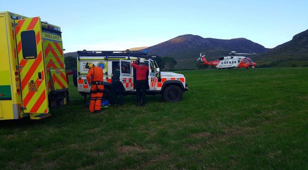 Helicopters were called to assist with the rescue. Picture Mourne Mountain Rescue