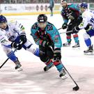 Belfast Giants' Steve Saviano with Coventry's David Clements