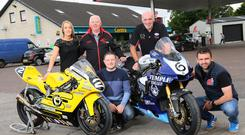 Service with a smile: Centra Whitemountain Service Station has confirmed its support for the MCE Ulster Grand Prix, sponsoring the first Supersport race for the second year running. From left, Danielle and Sam Finlay of Centra, with rider Gary Dunlop, UGP Clerk of Course Noel Johnston and William Dunlop
