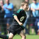 Double delight: Club NI's Matthew Lusty celebrates his brace
