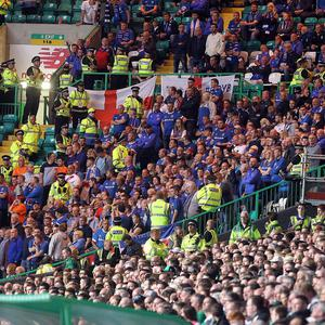 Linfield supporters at the game at Parkhead. Photo: Aidan O'Reilly/Pacemaker Press
