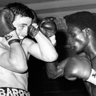 So sad: Barry McGuigan and Young Ali in their ill-fated contest in London in 1982