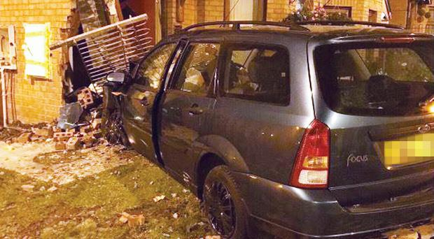 Local residents of Whiterock Road narrowly escaped serious injury when a vehicle crashed through their front garden wall. PSNI West Belfast FB page.