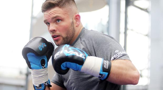 Carl Frampton public work out at Victoria Square in Belfast City Centre ahead of his WBC World Featherweight Title Eliminator against Mexican Andres Gutierrez in the SSE Arena on Saturday night. Conrad Cummings in the ring . Picture by Jonathan Porter/PressEye