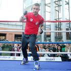 Carl Frampton public work out at Victoria Square in Belfast City Centre ahead of his WBC World Featherweight Title Eliminator against Mexican Andres Gutierrez in the SSE Arena on Saturday night. Carl Frampton in the ring. Picture by Jonathan Porter/PressEye