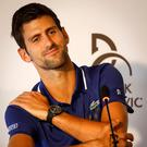 Facing the media: Novak Djokovic in Belgrade yesterday. Photo: Srdjan Stevanovic/Getty Images