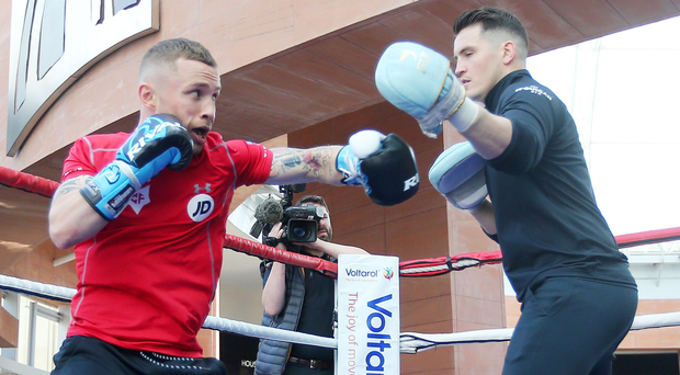 Squaring up: Carl Frampton in public workout in Victoria Square, Belfast yesterday. Photo: Jonathan Porter/Presseye