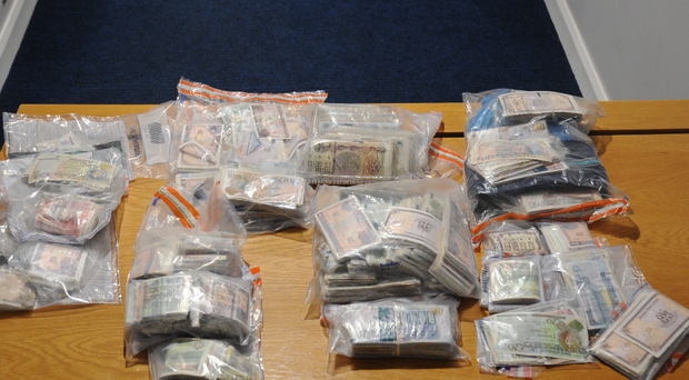 Cash seized by the police.