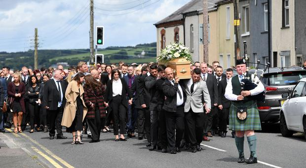 Alan Lewis - PhotopressBelfast.co.uk 27/7/2017 Picture by Justin Kernoghan The funeral of Dean McIlwaine at Carnmoney Presbyterian Church in County Antrim - Hundreds of mourners gathered at Carnmoney Presbyterian Church for a funeral service for barber, Dean McIlwaine.
