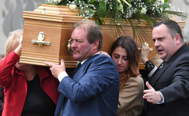Alan Lewis - PhotopressBelfast.co.uk 27/7/2017 Picture by Justin Kernoghan Dean's mother Karen, father Rod and partner Demi Jo helping to carry Dean's coffin at his funeral in Carnmoney