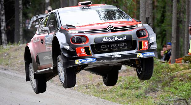 No backing off: Kris Meeke and his co-driver Paul Nagle in action during the Ruuhimäki stage shakedown on Rally Finland. Photo: Getty Images