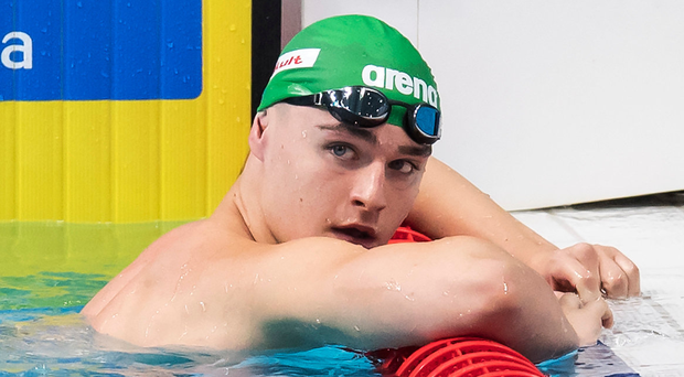 Ireland's Conor Ferguson after the 200m Backstroke Heat clocking his second fastest swim in the event, at 1:59.03. photo: INPHO
