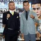 Ready to rumble: Carl Frampton and Andres Gutierrez ahead of tomorrow night's clash at Belfast's SSE Arena. Photo: Freddie Parkinson/Presseye