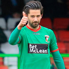 Hard work ahead: Glentoran's Curtis Allen is backing boss Gary Haveron to steady the shipon