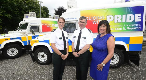 Pictured at the launch of the Policing with Pride vehicles are (L to R) Superintendent Emma Bond, PSNI Hate Crime Lead, Deputy Chief Constable Drew Harris and Anne Connolly, Chair of Northern Ireland Policing Board.