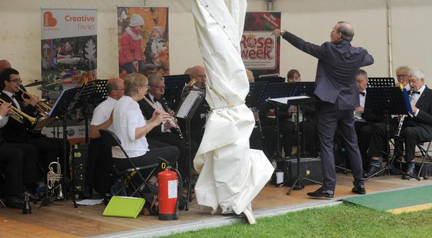 The Ormeau Concert Band conducted by Gary Shields pictured entertaining a large audience as part of the Rose Week programme