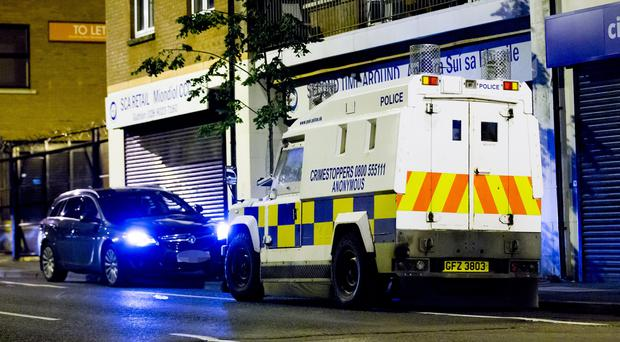 Armed police at the scene of a stabbing incident in the Springmeadow area of west Belfast on July 30th 2017 (Photo by Kevin Scott / Belfast Telegraph)