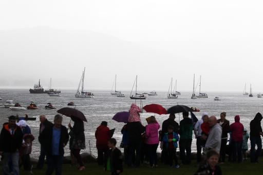 Boats take part in a flotilla on Carlingford Lough in memory of the crew of a rescue helicopter, which crashed off the County Mayo coast. Four people died after the Irish Coastguard Rescue Helicopter 116 crashed into the sea in March. All marine vessels on Carlingford Lough were invited to join the flotilla on Sunday, culminating in a ceremony and a flyby by a Irish Coastguard Helicopter at Rostrevor Bay in County Down. Picture by Jonathan Porter/PressEye.com