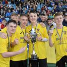Night to remember: County Antrim players celebrate their stunning SuperCupNI success. Photo: Stephen Hamilton/Presseye