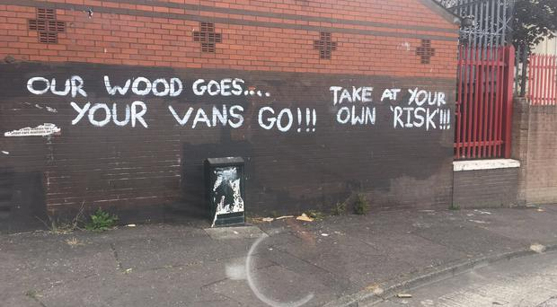 The graffiti was daubed on a wall in the New Lodge area.