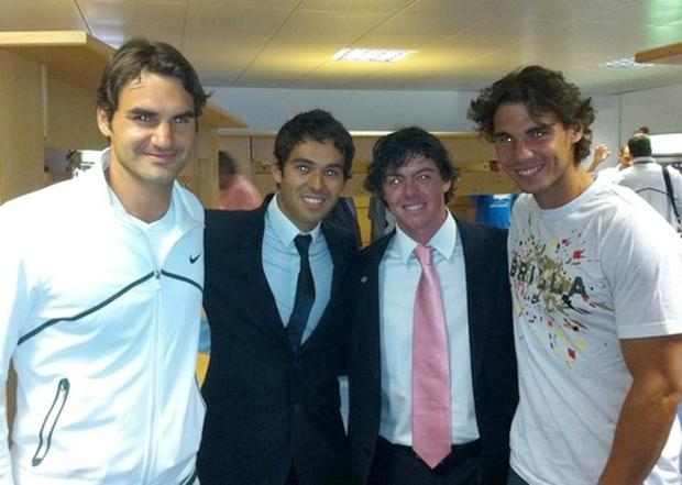 Roger Federer, Harry Diamond, Rory and Rafa Nadal at Winbledon. TWITTER PHOTO