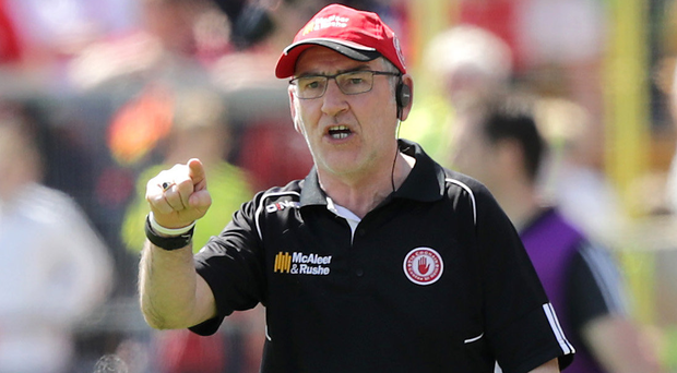 Making his point: Mickey Harte can remember 2014 when Matthew Donnelly (inset) was sent off
