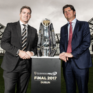 Expansion: Pro14's Martin Anayi (left) and sponsor's Oliver Loomes. Photo: Dan Sheridan/INPHO