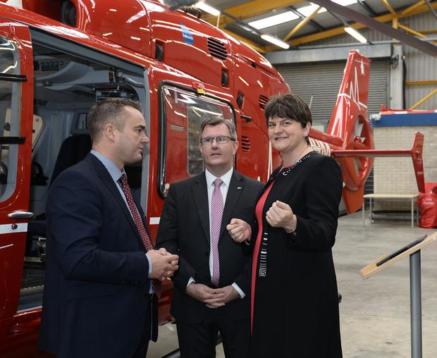 DUP leader Arlene Foster, Jeffrey Donaldson and Patrick Minne as the new Air Ambulance officially takes to the air at the old Maze prison Site in Lisburn. Photo Colm Lenaghan/Pacemaker Press
