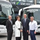 Steve Thornton, head of hockey operations, Stena Line Belfast Giants, Judith Harvey, group head of education and public affairs for Odyssey Trust Company, Neil Walker, general manager, The SSE Arena, Belfast, and Aodh Hannon, managing director of Hannon Coach