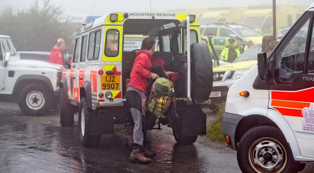 Rescue helicopters land at major incident in Mournes